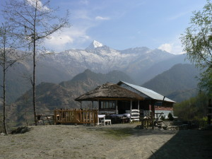 Rest stop between Sikha and Ghorepani. Try the cornbread with Honey.